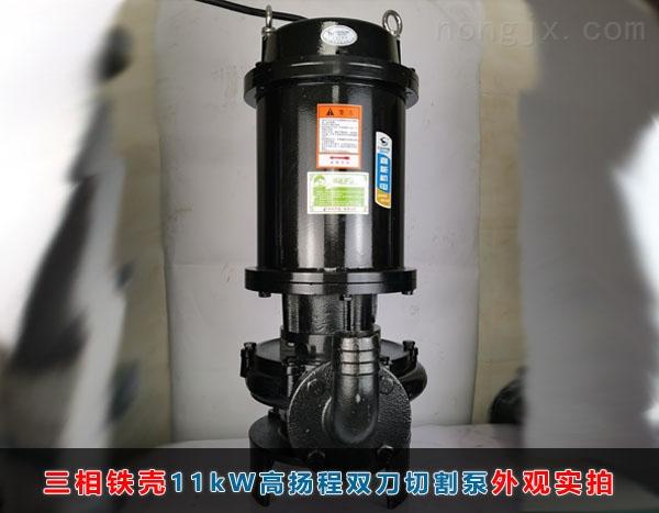 三相11kW高扬程(46米扬程)双刀切割泵正面实拍