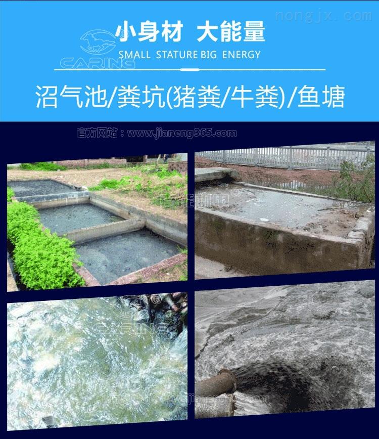 二相1.5kW铰刀式排污泵能用于沼气池、粪坑(猪粪/牛粪)、鱼塘淤泥的抽排